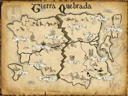 Mapa de Tierra Quebrada después de que se quebrara la Tierra
