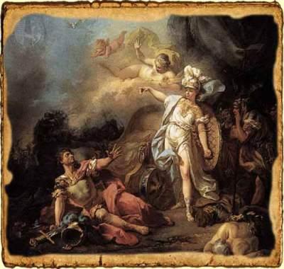 Combate entre el dios Ares y la diosa Atenea