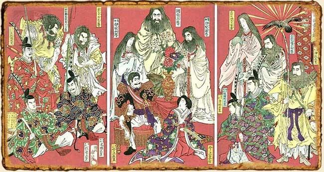 Emperadores y principales divinidades en la mitología japonesa