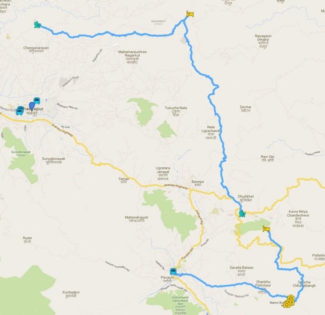 ruta trekking por el valle de katmandu