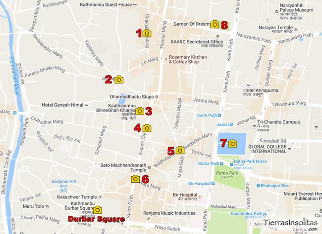 mapa visitas katmandu