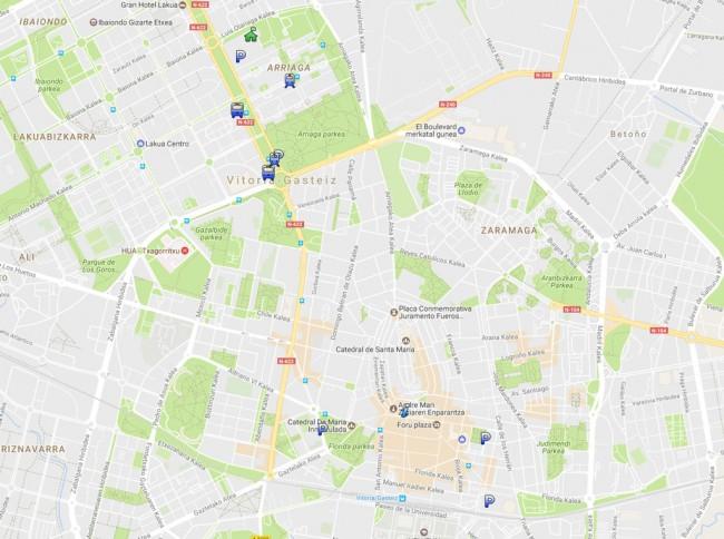 mapa aparcamientos vitoria-gasteiz