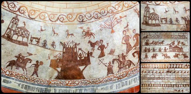 detalle escenas bélicas en la iglesia de alaiza