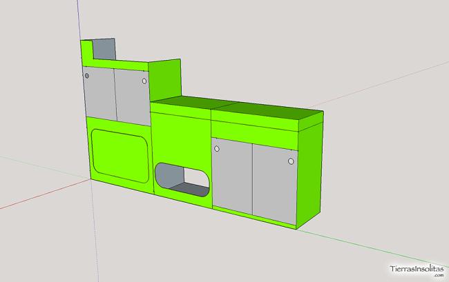 diseño mueble furgoneta camper sketchup