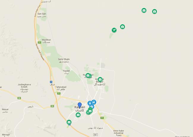 mapa visitas kashan y alrededores
