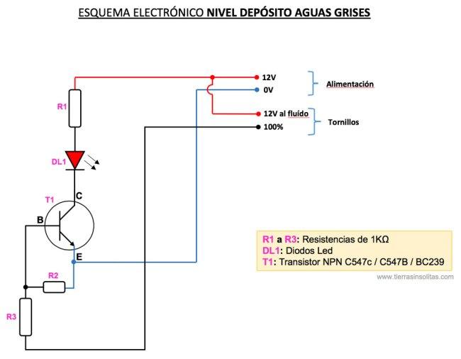 esquema electrónico nivel depósito aguas grises