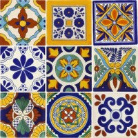 Set of 9 Mexican Talavera Ceramic Tiles 6x6 in.