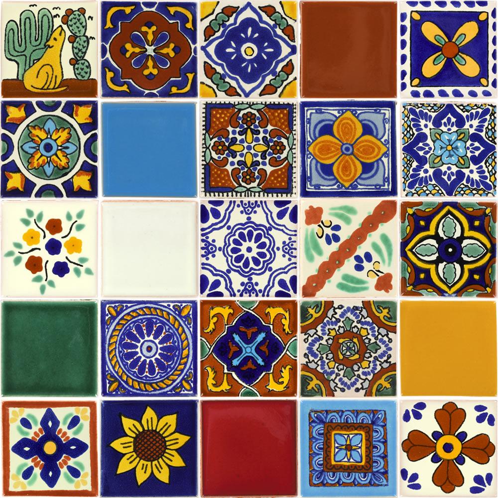 set of 25 individual tiles 2 x 2 talavera mexican tile set