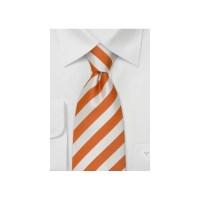 Orange Neckties - Orange and white striped tie