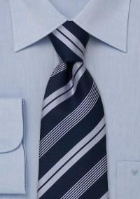 Modern striped tie Navy blue necktie with light blue stripes