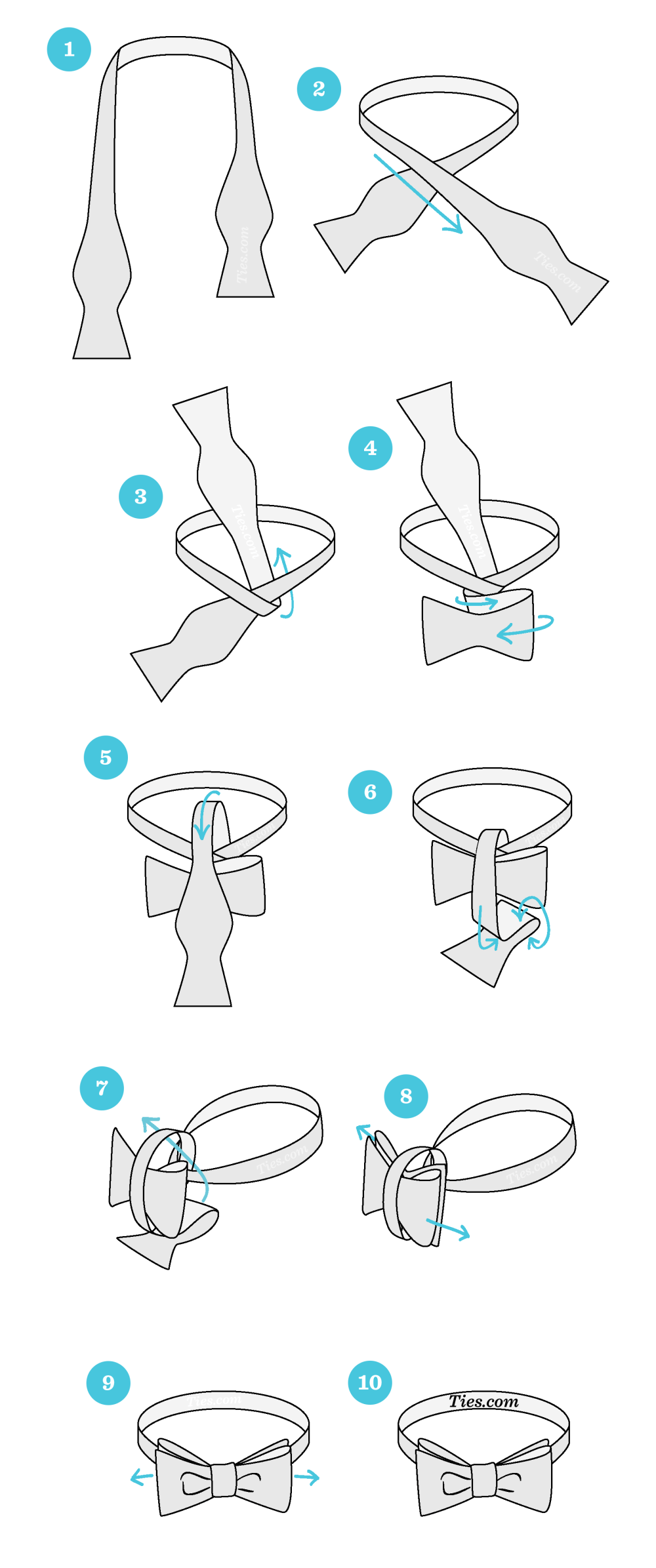 medium resolution of 1 start with the bowtie lying face up adjust the bowtie so right side is shorter than the left the end on the left will be referred to as a and the