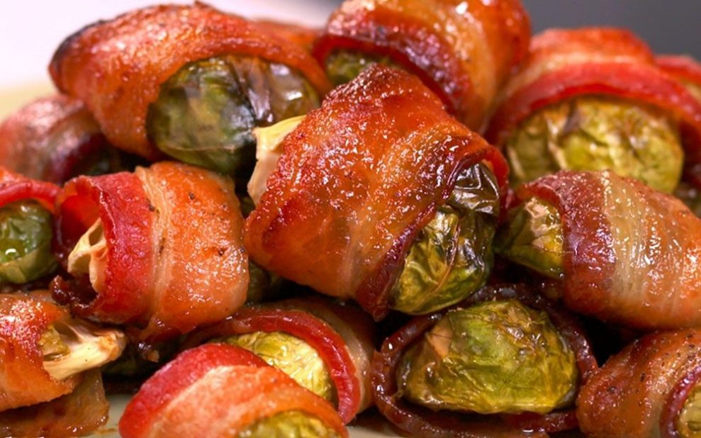 easy appetizers bacon-wrapped brussel sprouts
