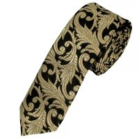 Black & Gold Beige Floral Patterned Designer Silk Skinny ...