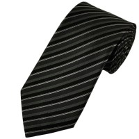 Black, Grey and Silver Striped Silk Tie from Ties Planet UK