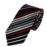 Black, Silver & Red Striped Skinny Tie from Ties Planet UK