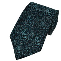 Black & Teal Green Patterned Silk Tie from Ties Planet UK