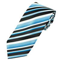 Black, White & Blue Striped Men's Tie from Ties Planet UK