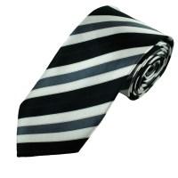 Black, White & Grey Striped Men's Tie from Ties Planet UK