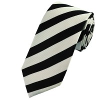 Black & White Striped Silk Tie from Ties Planet UK