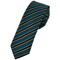 Blue, Black, Silver & Gold Striped Skinny Tie from Ties ...