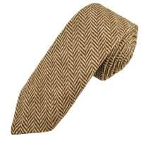 Brown & Beige Herringbone Tweed Wool Tie from Ties Planet UK