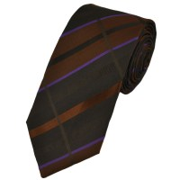Brown, Copper & Purple Checked Silk Narrow Tie from Ties ...