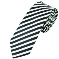 Black & White Thin Striped Skinny Tie from Ties Planet UK