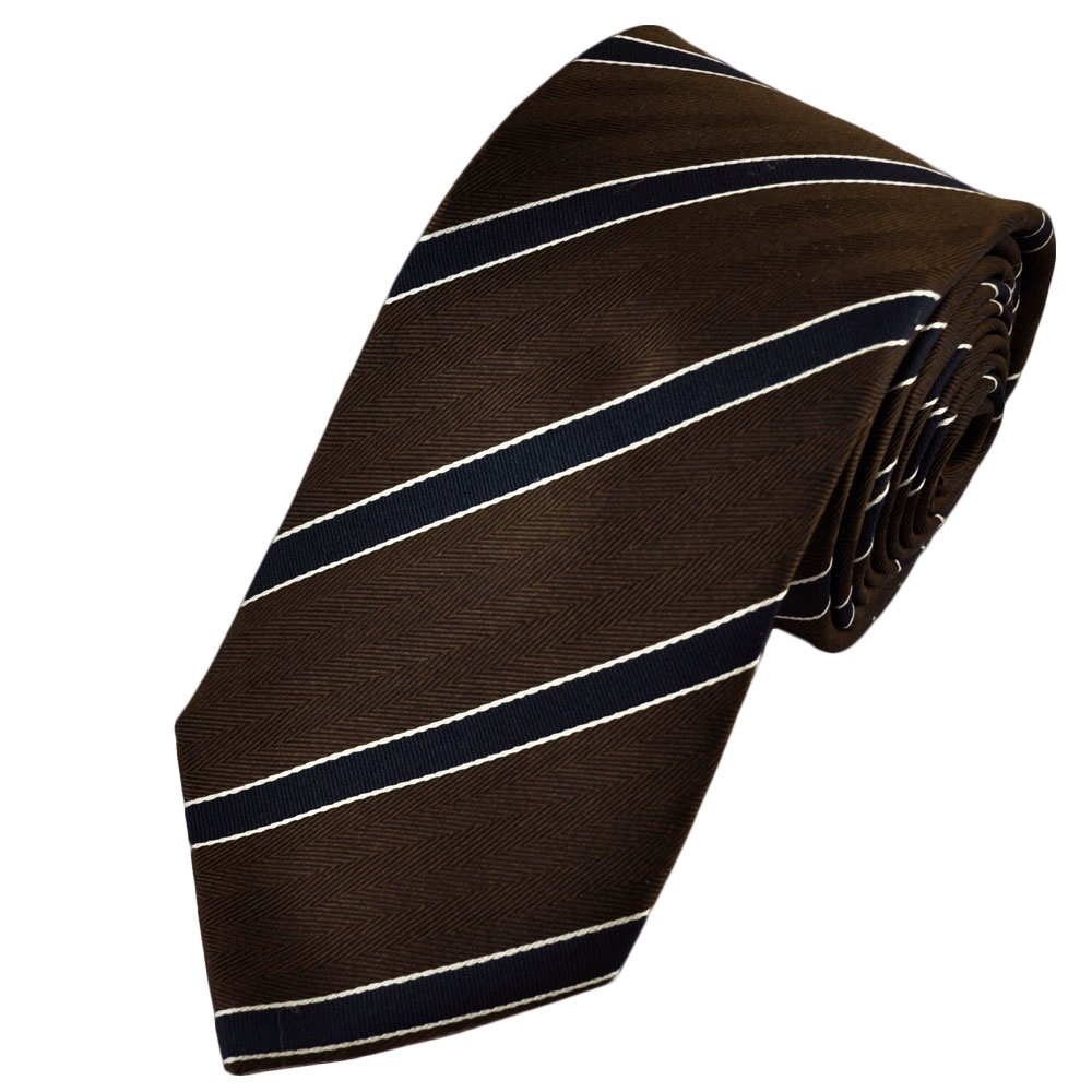 Dark Brown, Navy Blue & Ivory Striped Silk Tie from Ties