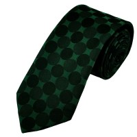 Green & Black Circle Patterned Silk Tie from Ties Planet UK