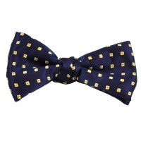Navy, Beige & Gold Square Patterned Silk Bow Tie from Ties ...