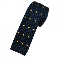 Navy Blue & Gold Polka Dot Silk Knitted Tie from Ties ...