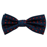 Navy Blue & Red Polka Dot Silk Bow Tie from Ties Planet UK