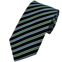 Navy, Green, Blue & White Striped Silk Tie from Ties Planet UK