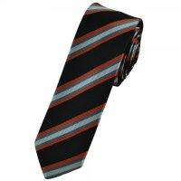 Orange, Black & Silver Striped Skinny Tie from Ties Planet UK