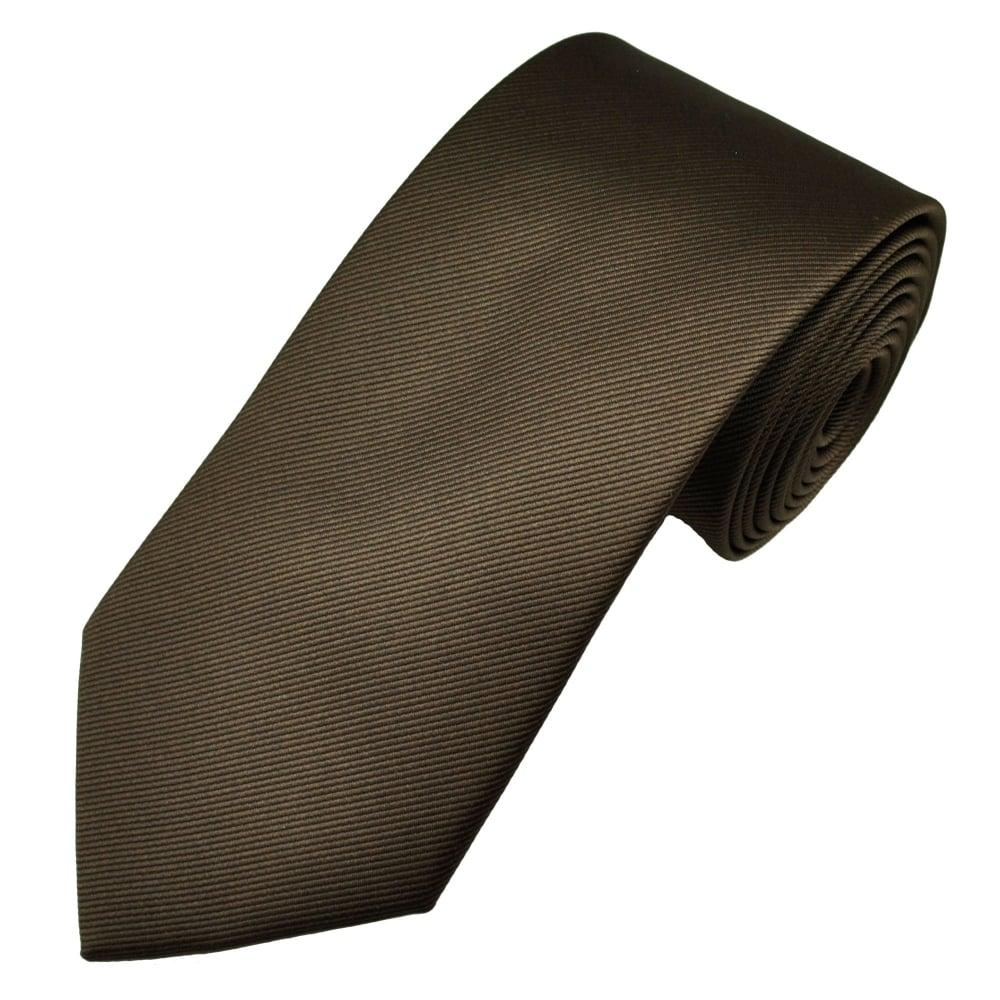 Plain Dark Brown Ribbed Men's Tie from Ties Planet UK