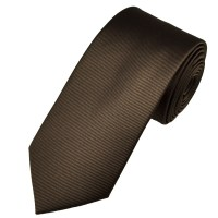 Plain Dark Brown Ribbed Men's Tie