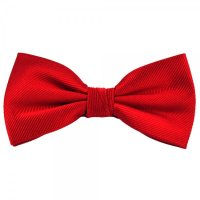 Plain Red Ribbed Silk Bow Tie from Ties Planet UK
