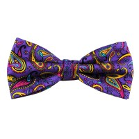 Purple, Yellow & Pink Large Paisley Silk Bow Tie from Ties ...