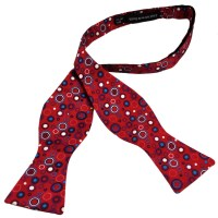 Red Patterned Self-Tie Silk Bow Tie from Ties Planet UK
