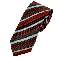 Red, Silver, Grey & Black Striped Patterned Silk Tie from