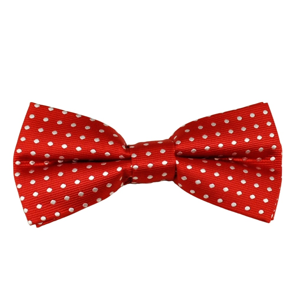 White Bow Tie With Black Polka Dots