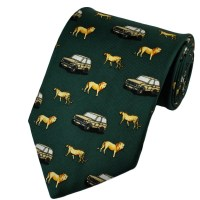 Safari Land Rover, Lion & Leopard Green Silk Novelty Tie ...