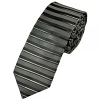 Shades of Silver Horizontal Striped Silk Skinny Tie from ...