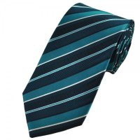 Teal Green, White & Black Striped Silk Tie from Ties Planet UK