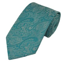 Turquoise & Silver Paisley Tie from Ties Planet UK