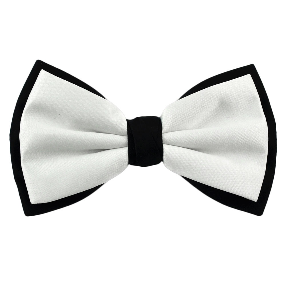 White & Black Double Coloured Bow Tie from Ties Planet UK