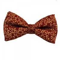 Wine Red & Gold Floral Patterned Bow Tie from Ties Planet UK