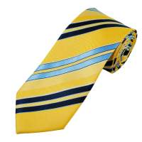 Yellow, Navy & Sky Blue Striped Men's Extra Long Tie from ...
