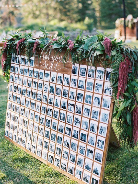 Ein Sitzplan der anderen Art: Polaroids geben dem Plan ein Gesicht