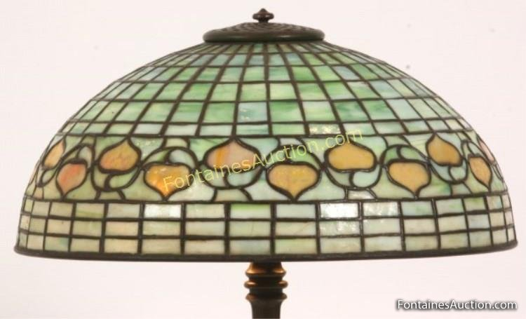 16 inch Tiffany Studios Acorn Table Lamp  Lot 393
